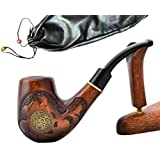 """SALE! Pear Wood Hand Carved Tobacco Smoking Pipe """"NORDIC"""" + Pouch"""