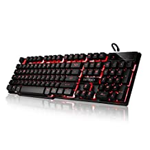 DBPOWER USB Wired Gaming Keyboard with 104 Keys LED Three Colors Backlit (Black)