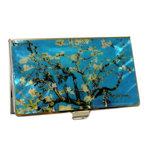 Mother of Pearl Almond Blossoms by Van Gogh Art Painting Design Blue Business Credit Name Card Holder Case Metal Stainless Steel Engraved Slim Purse Pocket Cash Money Wallet