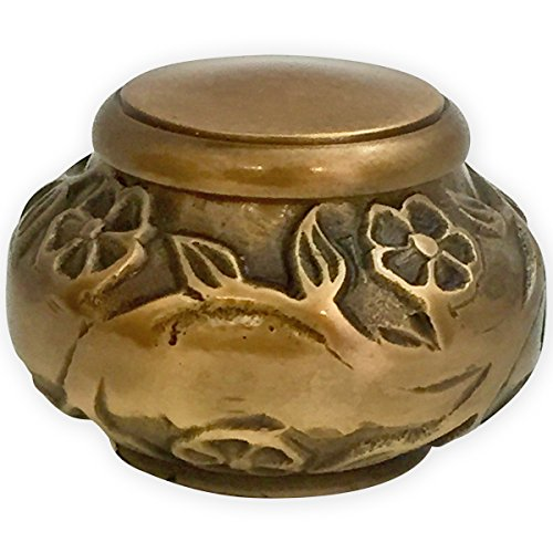 Beautiful Life Urns - Florence Antiqued Brass Keepsake Urn for Ashes - Small Size - NOT Intended for Full Cremation Ash Quantity