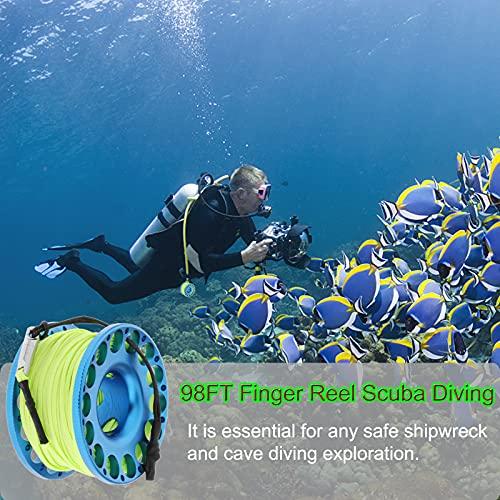 98FT Finger Reel Scuba Diving, Aluminum Lightweight Scuba Finger Spool Reel with Double-Ended Bolt Snap Clip for Snorkeling Scuba Diving
