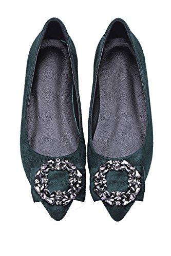 queenfoot Pumpqqa5 - Mocasines de Material Sintético para mujer C-Teal suede
