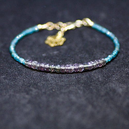 JP_BEADS Color Change Alexandrite and Moss Apatite Bracelet 14K Yellow Gold Filled, June Birthstones 3-4.5mm