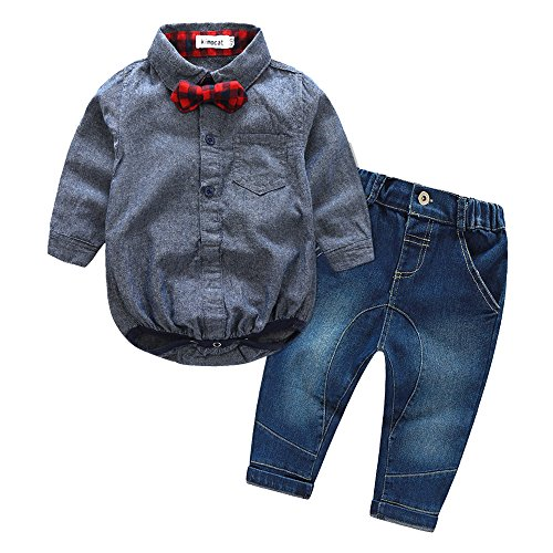 Bowtie Onesies+ Medium Rise Jeans for Baby Boy, 2Pcs Long Sleeve Bodysuit Denim Pant Clothing Set ()