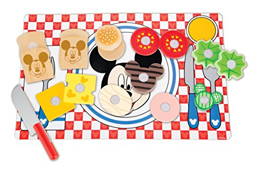 Melissa & Doug Disney Mickey Mouse Clubhouse Wooden Sandwich-Making Play Food (Lettuce Set)