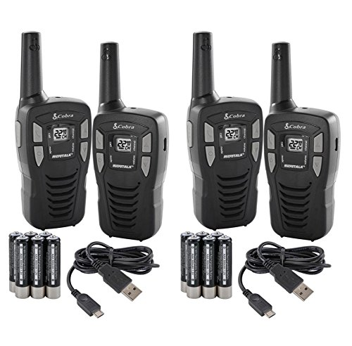NEW! (4) COBRA CXT145 MicroTalk 16 Mile 22 Channel Walkie Talkie 2 Way Radios (Renewed)
