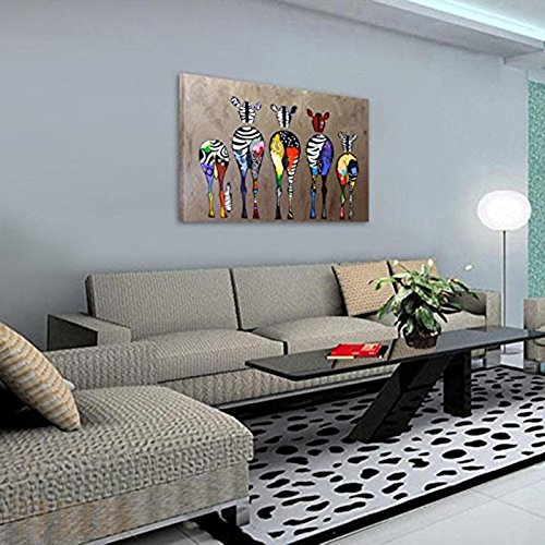 TOOGOO Dessin Dornement Tableau Decoration Mural Peinture a lhuile Impression Sur Toile Art Moderne Sans Encadrement Zebres Multicolore 70x50cm