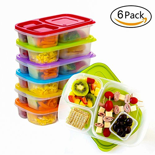 Bento Lunch Box Meal Prep Containers Reusable 3-Compartment Easy Open Safe Plastic Divided Food Storage Container Boxes for Kids Children Adults,Microwave,Dishwasher and Freezer BPA Free(6 Pcs)