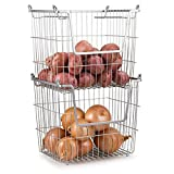 Home Basics Stackable Metal Pantry Organizer Basket - Space Saving Home and Kitchen Storage Bin Solution (2)