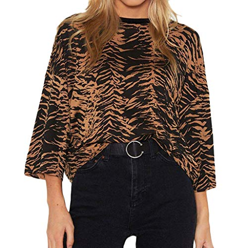 Women's Leopard Print Tops Summer Casual O-Neck 3/4 Sleeve Tee Shirts Loose Soft Blouses (S, Brown)
