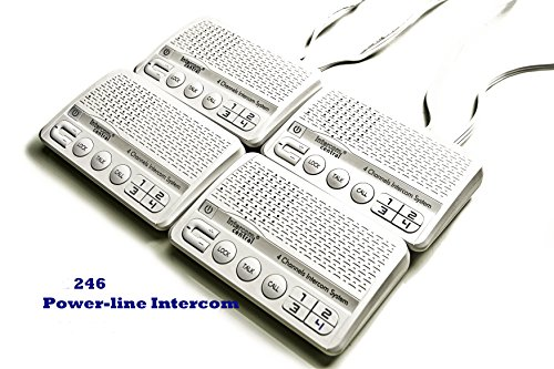 - 4 Channels HOME Power-line Intercom System, 3 Wire, White, Four Stations Set (3 Wire Intercom)