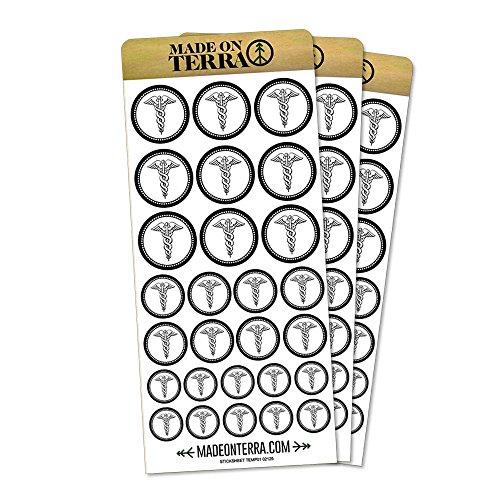 Caduceus Sticker - Caduceus Removable Matte Sticker Sheets Set