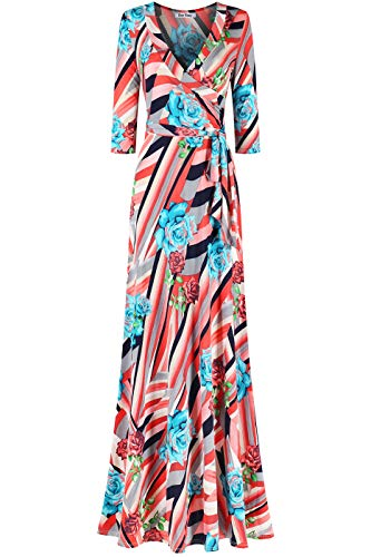 (Bon Rosy Women's MadeInUSA 3/4 Sleeve V-Neck Printed Maxi Faux Wrap Floral Dress Summer Wedding Guest Party Bridal Baby Shower Maternity Nursing Coral Blue S)