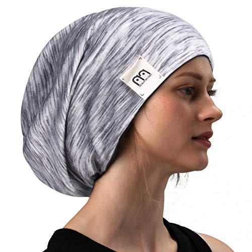 milkfeel Extra Large Satin Sleeping Bonnet Cap Wide Elastic Band Beanie Hat for Curly Natural Long Hair2019 (One Size, Black)
