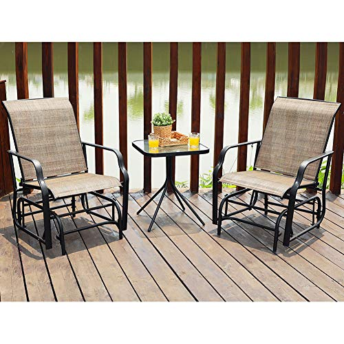 PHI VILLA Patio Glider Chair Outdoor Bistro Set 3 pcs, 2 Porch Front Deck Rocking Gliders & 1 Table, Brown