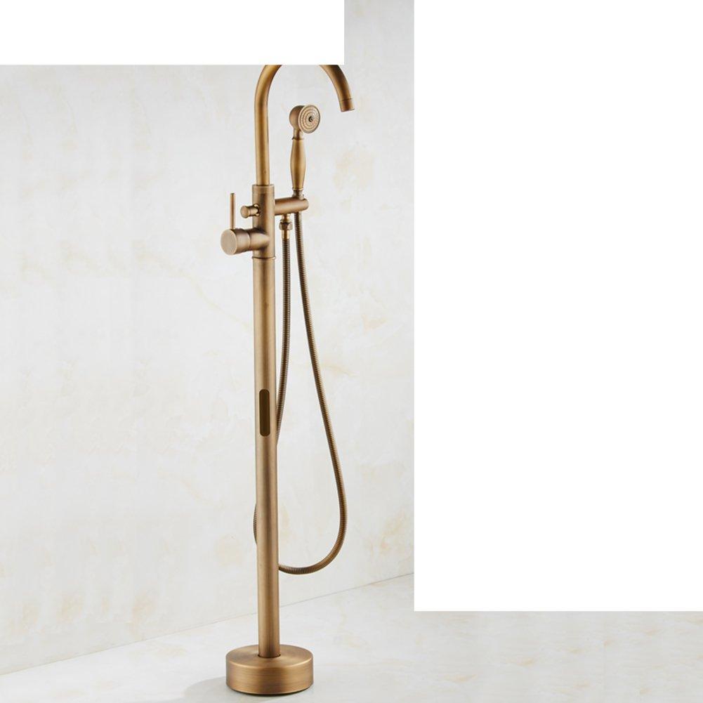 Cobre antiguo pie ba/ñera mezclador//temperatura constante vertical caliente y grifos de agua fr/ía//Ba/ño ducha lateral entrada de agua-B