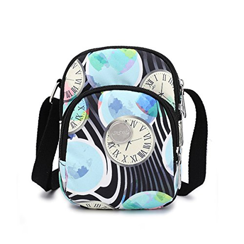 Nawoshow Nylon Floral Multi-Pocket Crossbody Purse Bags for Women Travel Shoulder Bag Small Bag Clocks