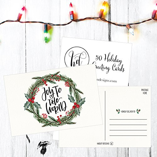 50 Holiday Greeting Cards, Cute Fancy Blank Winter Christmas Postcard Set, Bulk Pack of Premium Seasons Greetings Note, Mistletoe Happy New Years for Kids, Business Office or Church Thank You Notes Photo #3
