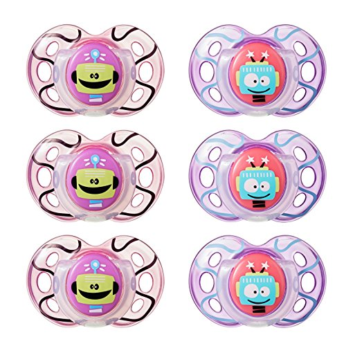 Tommee Tippee Closer to Nature Fun Style Orthodontic Toddler Soothie Pacifier, 18-36 Months - Unisex, 6 Pack