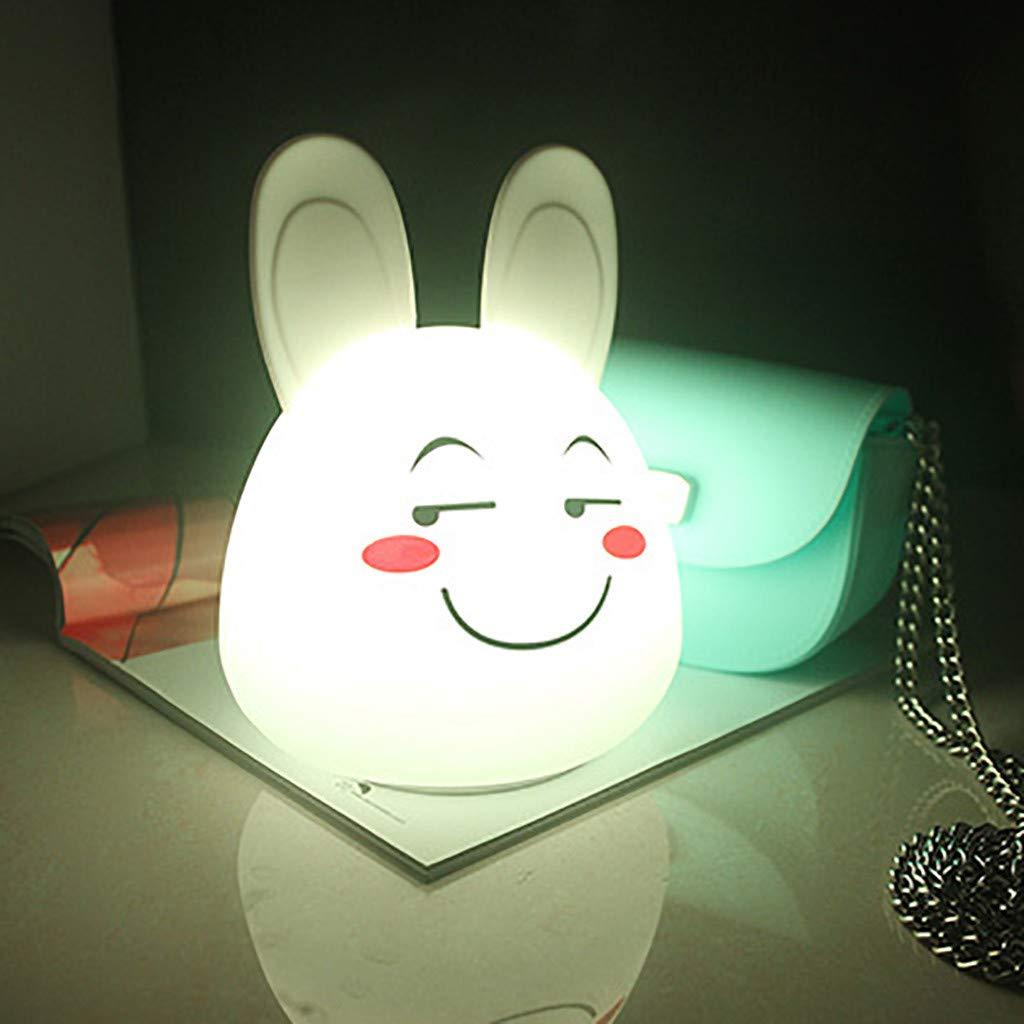 Baby Night Light, Sunsee Cute Bunny Night Light for Kids, Soft Silicone Toddler Night Light, Animal Nightlight for Children, Rabbit Night Light, Baby Girls Boys Birthday Gifts (White, Style-1)