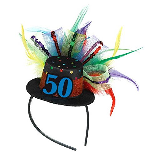The Party Continuous 50th Birthday Party Fascinator , Black/Multicolored , 12