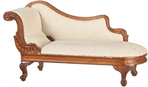 Melody Jane Dollhouse Rococo Chaise Longue White Cream Walnut JBM Miniature Furniture 1:12