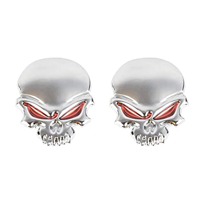 1797 3D Skull Pirate Devil Death Red Eyes Car Decals Stickers Accessories Vehicles Trucks Decorations Emblem Logo Badge Bumper Trunk Tailgate Window Metal Aluminum Alloy Cool Funny Silver Red 2 Pack: Automotive