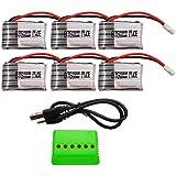 BTG 3.7v 250mah Battery 6pcs & X6 Battery Charger for Syma X11 X11c Hubsan X4 H107c H107d H107l H108 Ladybird UDI U816a JJRC H22