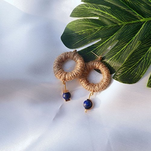 God Original handmade retro theatrical exaggeration rope loop earrings earrings lapis (Lapis Rope Earrings)