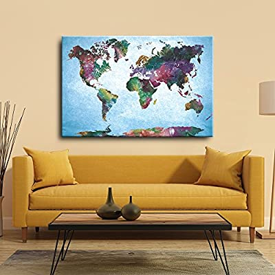 Watercolor Fine Art World Map Urban Vintage Painting, Premium Product, Lovely Picture