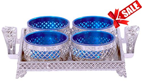 Selvel Air Lock 10x10 inch Unique Decorative Serving Tray & 4 Bowls with Lid, Nut Serving Tray with lid- unique Diwali gift item 2017, Unique New Home or Housewarming Gift, Indian Marriage Wedding Gif