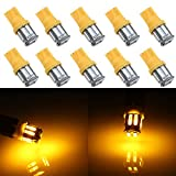 Grandview 350 Lumens Amber T10 194 168 921 W5W 7014 10-SMD LED Interior Lights Bulb Car Replacement Lights Truck License Plate Front Rear Sidemarker Light Dome Map LED Bulbs 12V DC 10-Pack