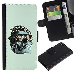 All Phone Most Case / Oferta Especial Cáscara Funda de cuero Monedero Cubierta de proteccion Caso / Wallet Case for Apple Iphone 4 / 4S // Cool Green Miami Skull Death Metal
