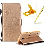 Strap Case for Samsung Galaxy S5,Wallet Leather Cover for Samsung Galaxy S5,Herzzer Classic Elegant [Gold Butterfly Pattern] PU Leather Fold Stand Card Holders Smart Phone Case for Samsung Galaxy S5 + 1 x Free Yellow Cellphone Kickstand + 1 x Free Yellow Stylus Pen