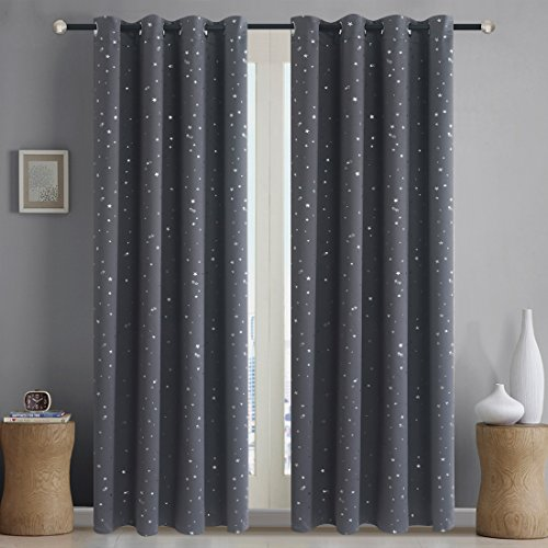 Alice Brown Romantic Starry Sky Creative Blackout Window Curtains for Kids Room/Girls Room/Boys Room Space Inspired Night Sky Twinkle Star Kid's Room Draperies W52 x L84-Inch 2 Panels Grey by Alice Brown