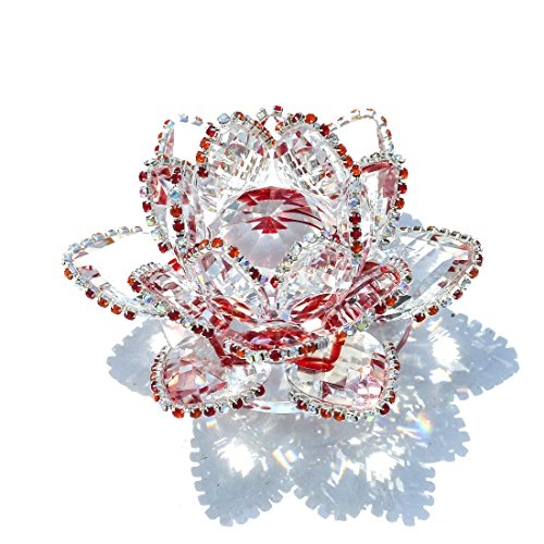 (H&D Crystal Lotus Flower Figurine with Sparkle Rhinestone Feng Shui Crystals Home Decor Glitter Paper Weight Gift-Box (3.5inch, Red))