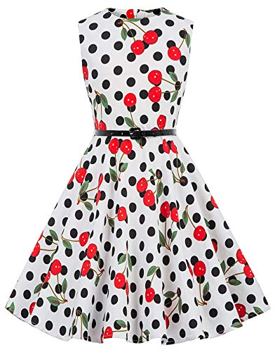 Kate Kasin Girls Sleeveless Vintage Print Swing Party Dresses 6-15 Years (11-12 Years, K250-29)]()