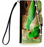 Rikki Knight Green Eclectus Parrots in Love Parrots Kissing Design PU Leather Wallet Type Flip Case with Magnetic Flap and Wristlet for Apple iPhone 5 &5s