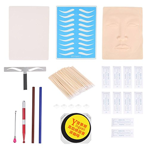 Permanent Eyebrow Tattoo Complete Kits, Novice Practice 3D Skin Pigment Ink Liner and Shader Microblading Eyebrow Blade Pen Pigment Ring Makeup Tool Sets