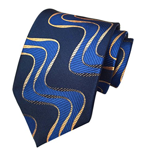 Secdtie Men's Blue Striped Textured Check Jacquard Woven Silk Tie Formal Necktie (One Size, Royal Navy Blue)