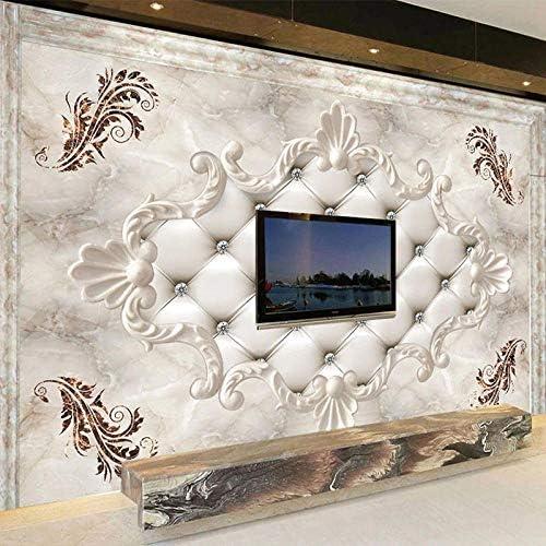 Ansyny カスタム3D壁紙ヨーロピアンスタイルソフトロール大理石写真壁の壁画リビングルームテレビソファ寝室背景壁紙フレスコ画-400X240CM