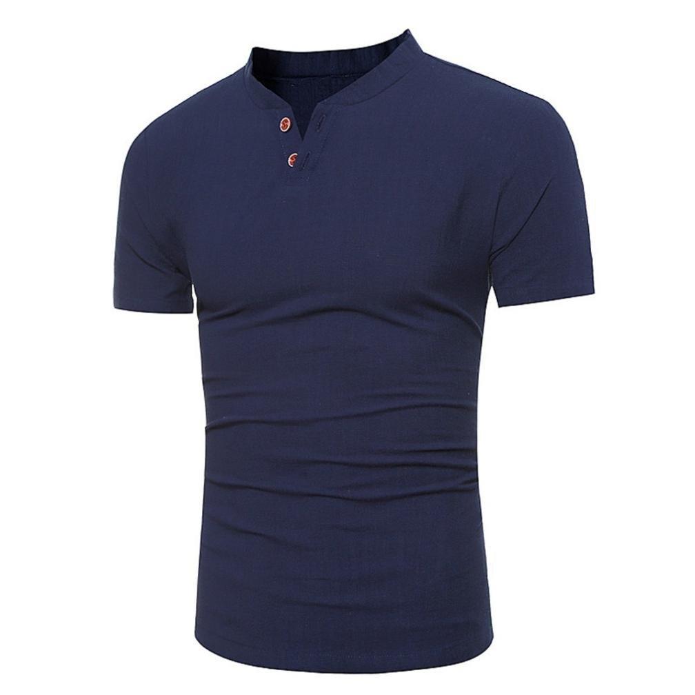 L/ässige Tops Sommer Kurzarm-T-Shirt Buton Linen Solid Bluse Tee HCFKJ T-Shirt Blusen Herren