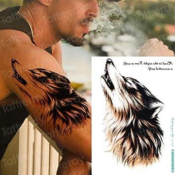 HXMAN 5 Unids Tatuaje Temporal Pegatina Lobo Cabeza Arte Hombres ...
