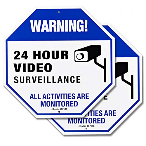 (Video Surveillance Camera Signs for Property House Yard - 12x12 Rust Free 40Mil Thick Aluminum Indoor or Outdoor CCTV Security Sign - 2 Pack)