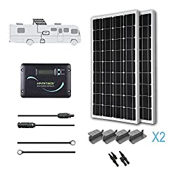Renogy 200 Watts 12 Volts Monocrystalline Solar RV Kit Off-Grid Kit with 30A PWM LCD Charge Controller + Mounting Brackets + MC4 Connectors + Solar Cables + Cable Entry housing
