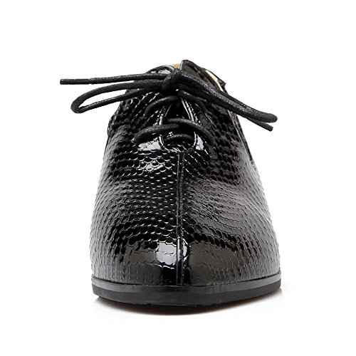Round Pump Shoes Women's WeenFashion Toe Black Pu Soild Heels Low Lace up pgTTCqw