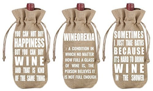 VinoPlease Set of 3 Wine Jute Burlap Bag Draw String Covers Gift Accessory