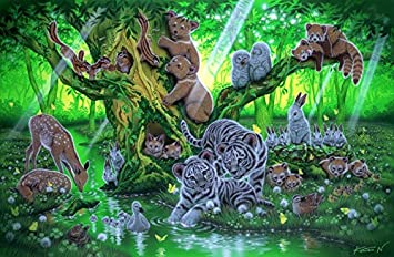 Forest River Animals Paint By Number Kit DIY Digital Art Oil Painting Canvas