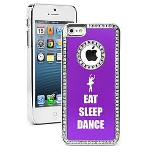 Apple iPhone 5c Purple CS550 Rhinestone Crystal Bling Aluminum Plated Hard Case Cover Eat Sleep Dance