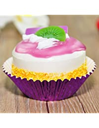 Investment 100 Colorful Purple Metallic Foil Grease-Proof Paper Standard Cupcake Baking Liner Cups compare